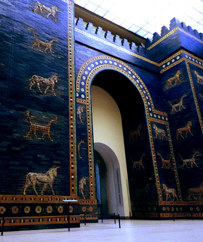 The gates to the gold-drenched city of Babylon